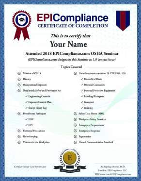 EPICOMPLIANCE CERTIFICATE OF COMPLETION